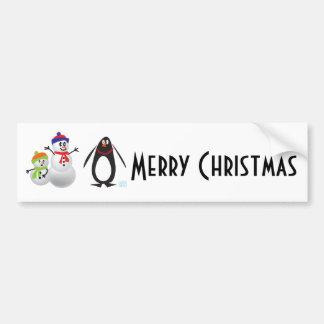 Snowmen and Penguin Bumper Sticker