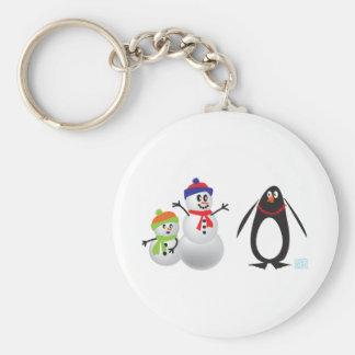 Snowmen and Penguin Keychain