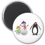 Snowmen and Penguin Magnets