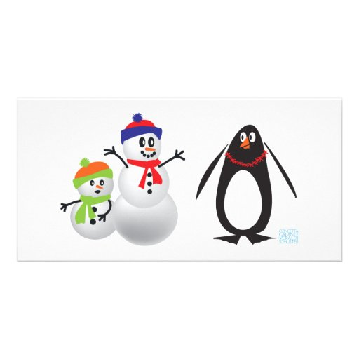 Snowmen and Penguin Photo Card Template