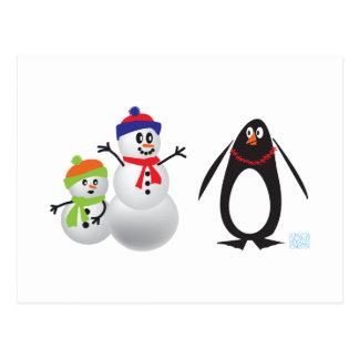 Snowmen and Penguin Postcard