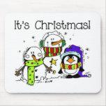 Snowmen and Penguins It's Christmas Mousepads