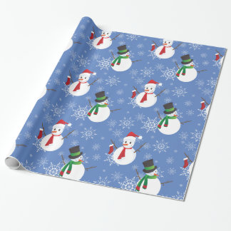 Snowmen and Snowflakes Wrapping Paper