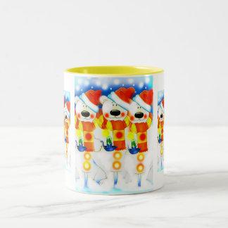 Snowmen at Christmas Two-Tone Coffee Mug