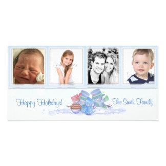 Snowmen Blue Photo Card