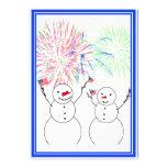 Snowmen Celebrating Fireworks Day! Invites