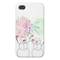 Snowmen Celebrating Fireworks Day! iPhone 4/4S Case