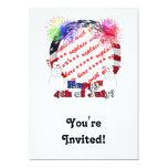 Snowmen Celebrating Freedom w/Flag Frame 5x7 Paper Invitation Card