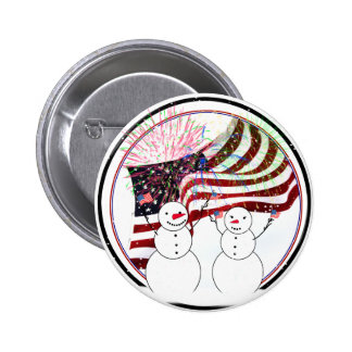 Snowmen Celebrating Independence Button
