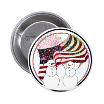 Snowmen Celebrating Independence Buttons