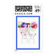 Snowmen Celebrating the 4th of July Stamps