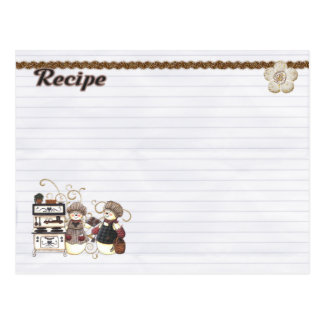 snowmen chefs recipe card