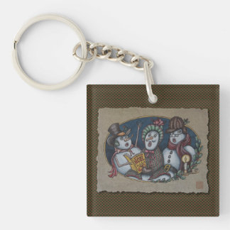 Snowmen Christmas Carolers Keychain