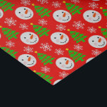 "Snowmen Christmas Festive Pattern Tissue Paper<br><div class=""desc"">Cute festive pattern in red white and green  snowman faces,  Xmas trees and snowflakes. Fun Christmas theme design ideal for wrapping all those  Holiday season gifts  or crafty Christmas makes.</div>"