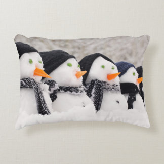 Snowmen Close Up In A Row Accent Pillow