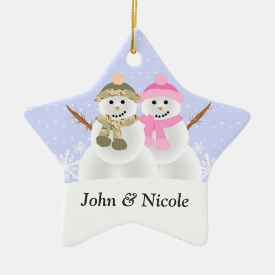 Snowmen Couple Custom Ornament