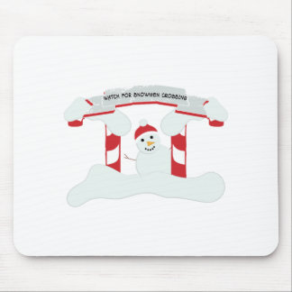 Snowmen Crossing Mouse Pads