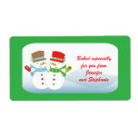 "Snowmen customizable baked goods gift tag label<br><div class=""desc"">This holiday snowman baked goods gift tag label is a great sticker to put on your cookies,  brownies,  or any other baked goods that you make and give as gifts over the holidays.  You can easily customize the saying and the names on the labels.  ©2010 JD Digi Designs</div>"
