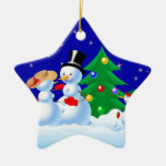 Snowmen Dancing Christmas Tree Ornament