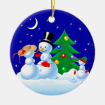 Snowmen Dancing Christmas Tree Ornaments