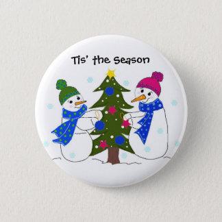 Snowmen Decorating a Christmas Tree Button