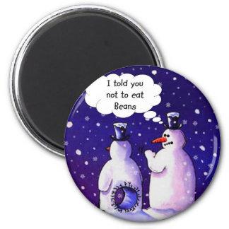 Snowmen Don't Eat Beans 2 Inch Round Magnet