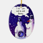 Snowmen Don't Eat Beans Double-Sided Oval Ceramic Christmas Ornament
