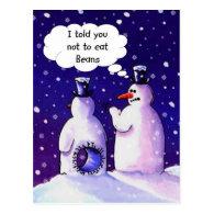 Snowmen Don't Eat Beans Postcard