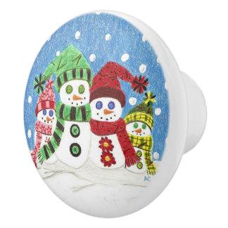 Snowmen family ceramic knob