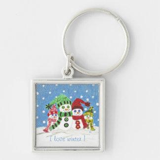 Snowmen family premium keychain