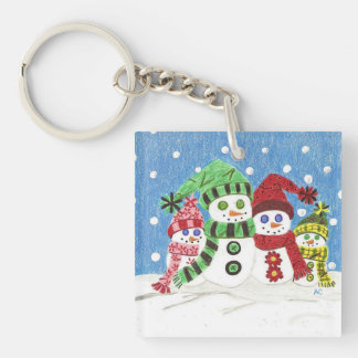 Snowmen family square key chain