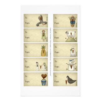 Snowmen & Friends Gift Tags on a Sheet - 10 Design