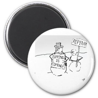Snowmen, funny, apocalypse, end of the world, cart 2 inch round magnet