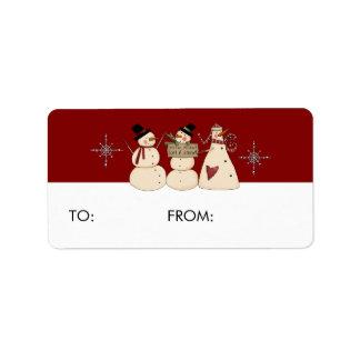 Snowmen Gift Tags Address Label