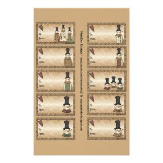 Snowmen Gift Tags on a Sheet - 10 Designs
