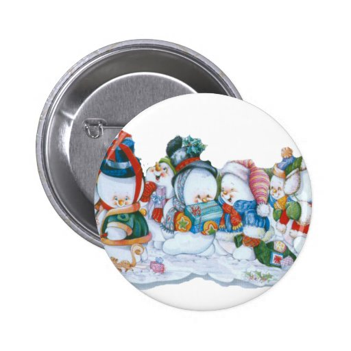 Snowmen having fun 2 inch round button