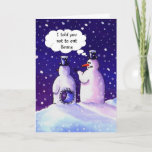 "Snowmen Humor Holiday Card<br><div class=""desc"">When you are made of snow you have to be careful. In this humorous cartoon an snowman finds out that eating beans can cause you to pass gas,  which in turn can cause a hole to be blown out of your tummy.</div>"