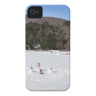 Snowmen in a field iPhone 4 covers