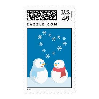 Snowmen in love postage