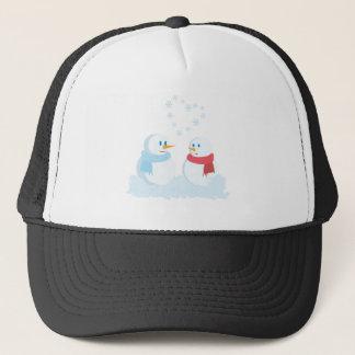 Snowmen in love trucker hat