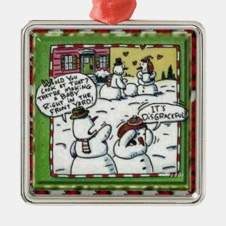 Snowmen Making Baby Christmas Tree Ornament