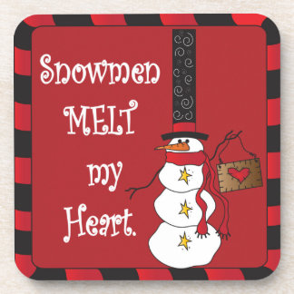 Snowmen Melt my Heart   Christmas Coaster