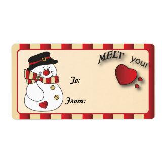 Snowmen Melt My Heart Gift Tag Label