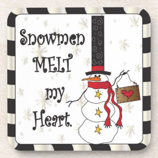 Snowmen Melt your Heart   Christmas Coaster