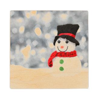 Snowmen Maple Wood Coaster