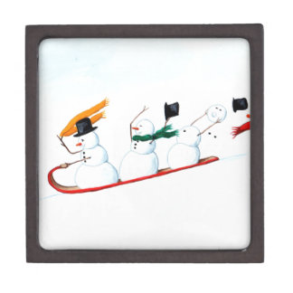 Snowmen on a Sled Jewelry Box