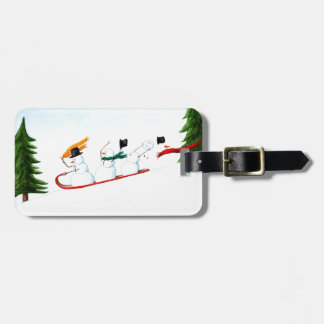 Snowmen on a Sled Luggage Tag