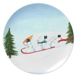 Snowmen on a Sled Plate