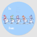Snowmen on Ice gift tags Classic Round Sticker