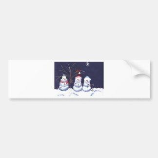 Snowmen & Pair of Cardinals Bumper Sticker